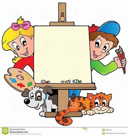 Cartoon Painting Canvas Clipart Paint Illustration Vector