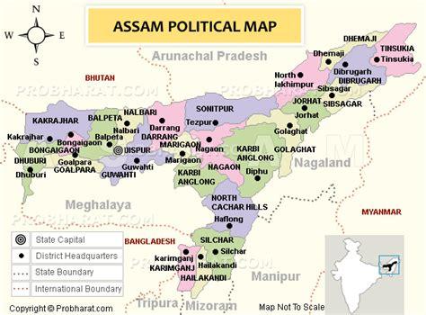 assam map map  assam state india political map