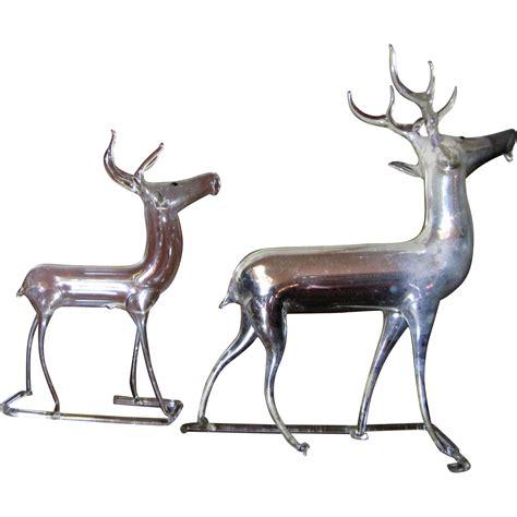 2 vintage german mercury glass christmas reindeer