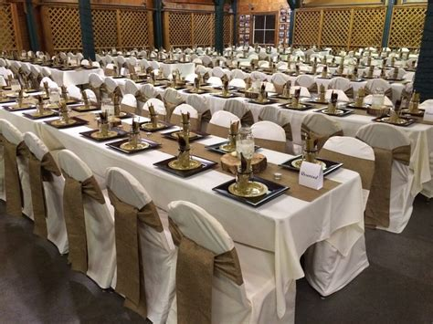 Burlap Table Runners And Chair Sashes, Ivory Tablecloths