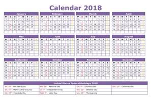 2018 Calendar with Holidays Printable Templates