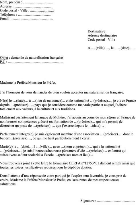 bureau de nationalité française application letter sle modele de lettre demande de