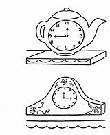 Clock Coloring Pages Clocks Drawing Cuckoo Face Template Mantle Antique Mantel Sheets Grandfather Simple Crafts Season Daylight Savings Activity Printable sketch template