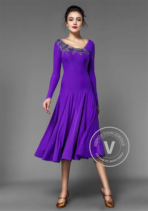 royal purple ballroom smooth practice dance dress