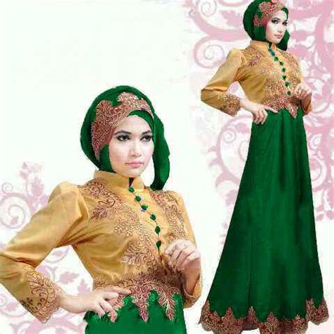 baju gamis pesta satin princess gold green  gaun