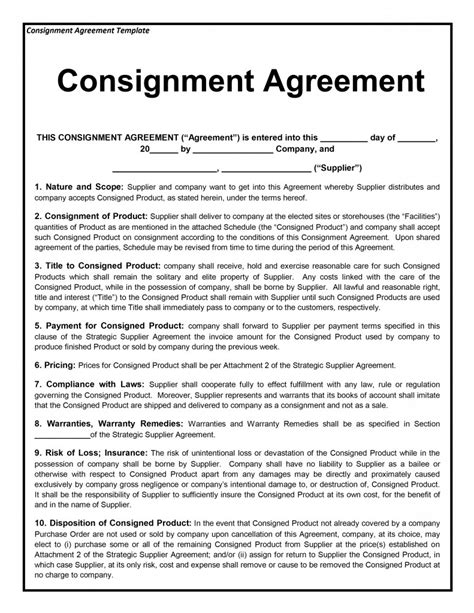 consignment contract template consignment agreement template free microsoft word templates