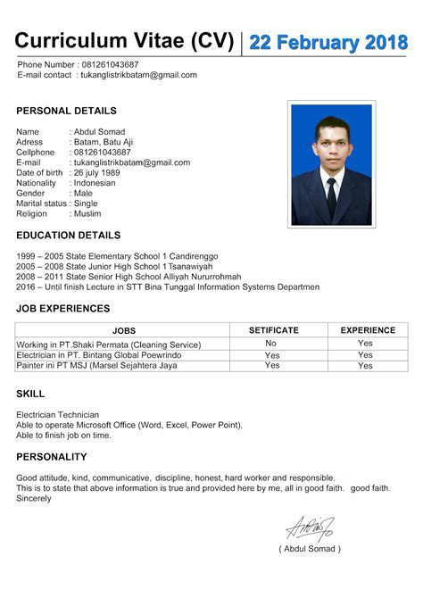 Contoh Curriculum Vitae Bahasa Inggris  Tukang Listrik Batam. Resume Job Meaning. Cover Letter For Cv Computer Engineer. Layout Cv 4 Clash Of Clans Construtor. Resume Format In Word. Cover Letter Heading If Name Is Unknown. Sample Letter Accepting Letter Of Resignation. Letter Of Application Meaning. Lebenslauf Englisch Praktikum
