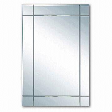 China Vanity Bathroom Mirror With Beveled Edge And V