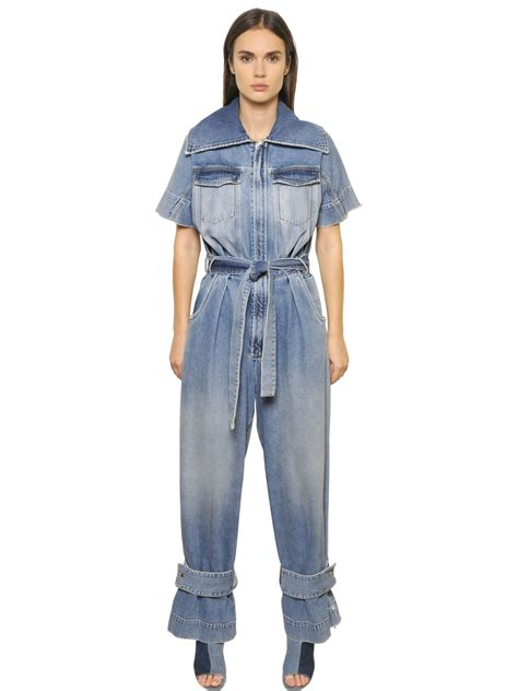white denim jumpsuit lyst white c o virgil abloh faded cotton denim