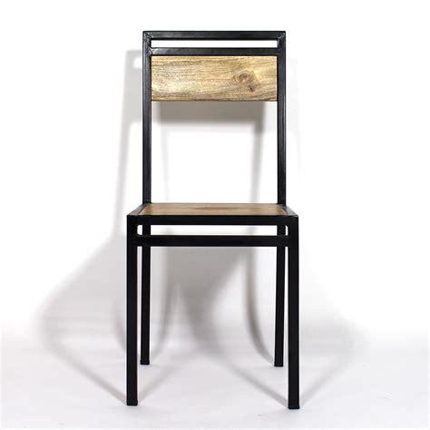 tabouret d ilot de cuisine chaise industrielle métal et bois de manguier made in