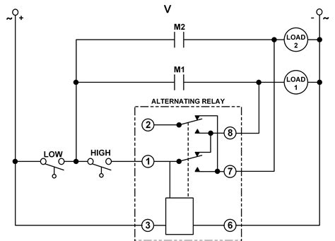 dpdt cross wired alternating relays  high