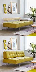 Unique-yellow-tufted-sofa-sleeper-with-artistic-modern-style