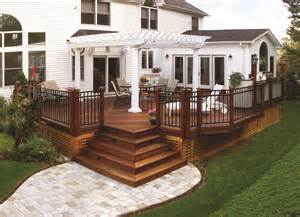 16 X 16 Concrete Patio Pavers by Wood Deck With Pergola And Paver Walkway Archadeck