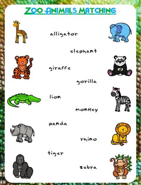 zoo animals matching  worksheets  prestige