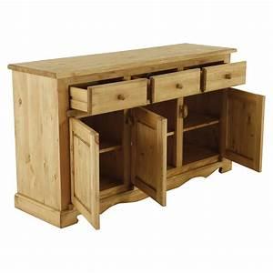 Meuble Bas 3 Portes : meuble bas rustique en pin 3 portes 3 tiroirs grenier alpin ~ Teatrodelosmanantiales.com Idées de Décoration