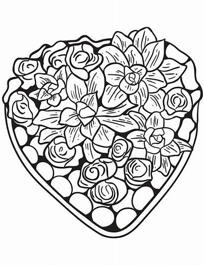 Coloring Hearts Heart Pages Adults Valentines Flowers