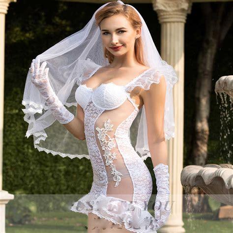 Porno Women Wedding Dress Cosplay Sexy Underwear White