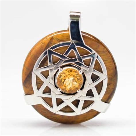 Golden Tiger Eye Citrine Trinity Star Amulet
