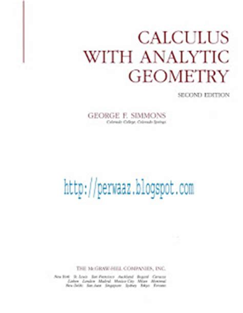 Calculus With Analytic Geometry Second Edition By George F