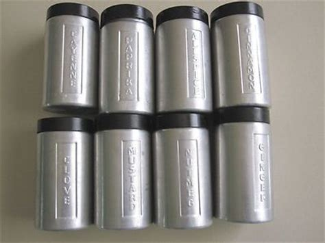 vintage set of jars stainless 8 vintage spice jars cans spun aluminum stainless steel