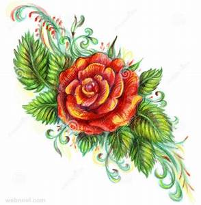 40 Beautiful Flower Drawings and Realistic Color Pencil ...