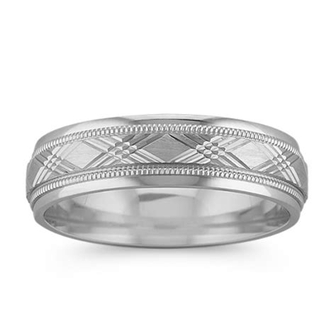 white gold cross hatched wedding band mm shane