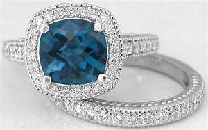 cushion cut london blue topaz diamond engagement ring and With london gold wedding rings