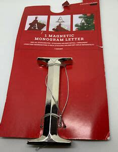 initial letter  silver monogram ornament stocking holder pin magnetic holiday ebay