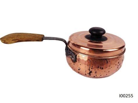 copper swiss cookware casserole pot  wrought iron  wooden handle brass decor wooden