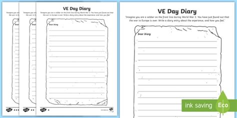 Ve Day Diary Writing Template  Ve Day, Diary, Writing