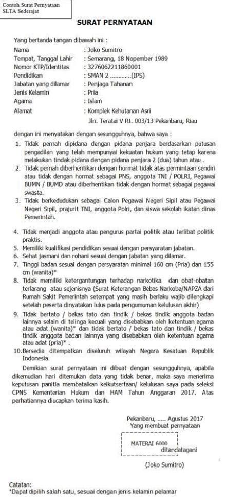 Contoh Surat Lamaran Cpns Kemenkes 2017 by Contoh Surat Pernyataan Cpns 2018 Format Surat