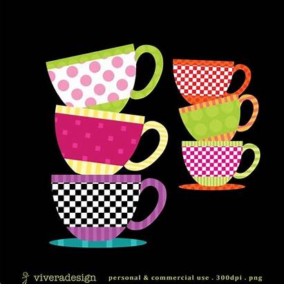 Clipart Teacup Party Patterned Saucer Tea Cups