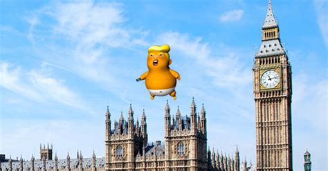 giant baby donald trump balloon  fly  london
