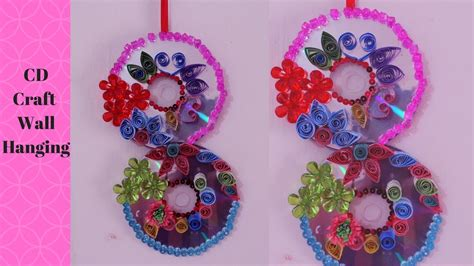 diy recycled decoration idea for hang on ceiling diy waste cd craft ideas how to make recycled cd s wall hanging