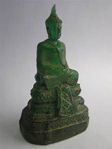 Small Buddha Statue Green Resin With Gold Wash