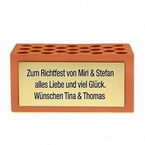 Geschenk Zur Hauseinweihung : ziegelstein grundstein f r eine gl ckliche ehe hochzeitsgeschenkidee ~ Eleganceandgraceweddings.com Haus und Dekorationen