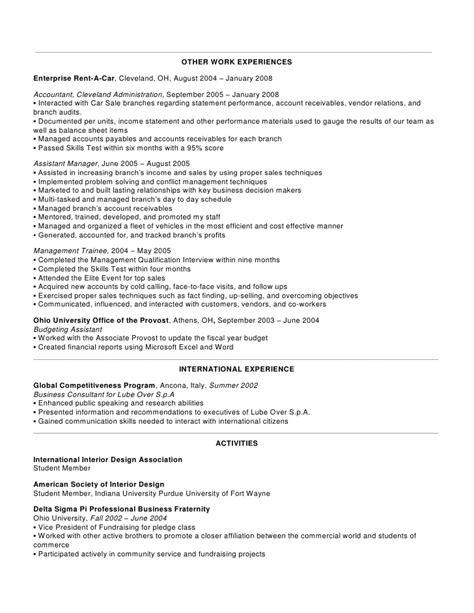 Enterprise Management Trainee Resume by Enterprise Rent A Car Resume Exles Resume Format 2017