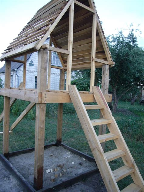 wooden playhouse   ideas  pinterest forts  kids outdoor garden