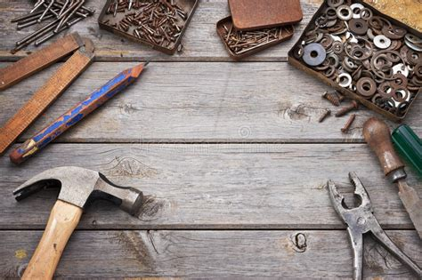 tools background tools workbench wood background stock photo image 47344662