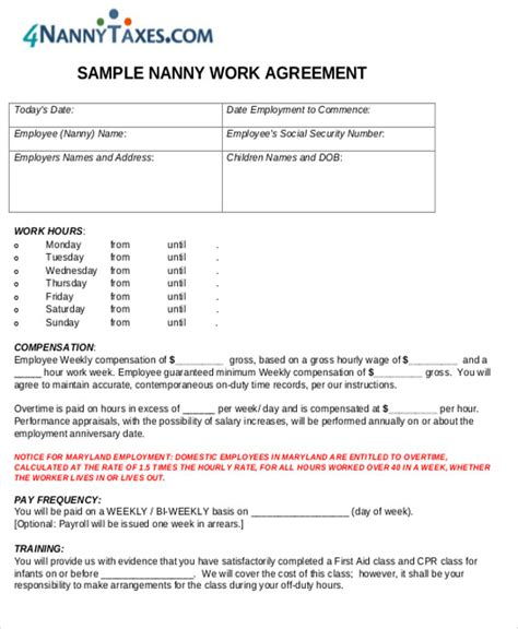 nanny agreement contract sample templates word docs