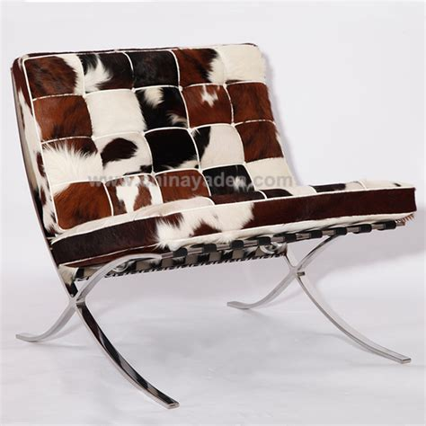 Cowhide Barcelona Chair by Barcelona Chair By Mies Der Rohe Barcelona Chair
