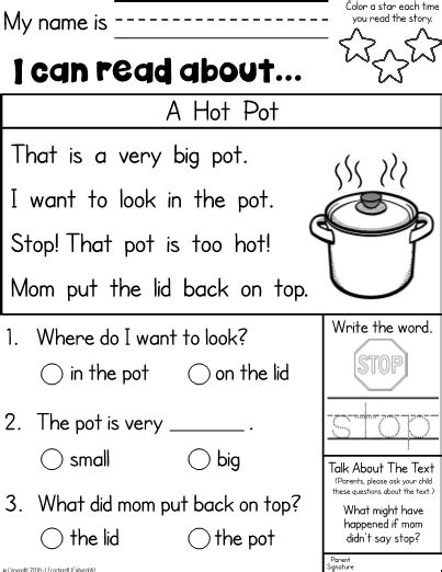 kindergarten reading comprehension homework