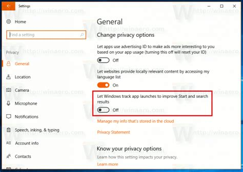 Optimize Search Results - enable or disable app launch tracking in windows 10