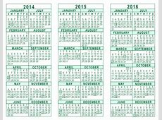 Yearly Calendar 2014 And 2018 And 2018 year printable