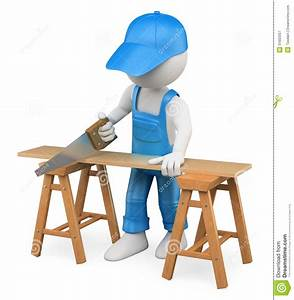 3D White People Carpenter Cutting Wood With A Handsaw