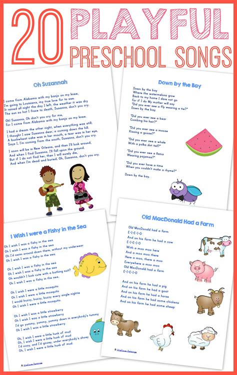 20 best preschool songs free printable wildflower 724 | Desktop132 002