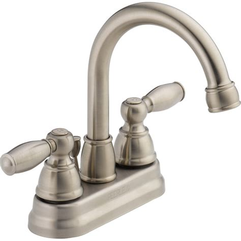 peerless 2 handle lavatory faucet with pop up brushed