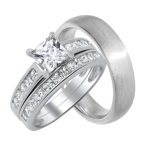 matching   trio wedding ring set  real