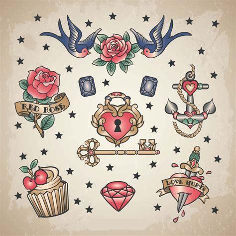 Retro Love Tattoo Set Vector  Free Download