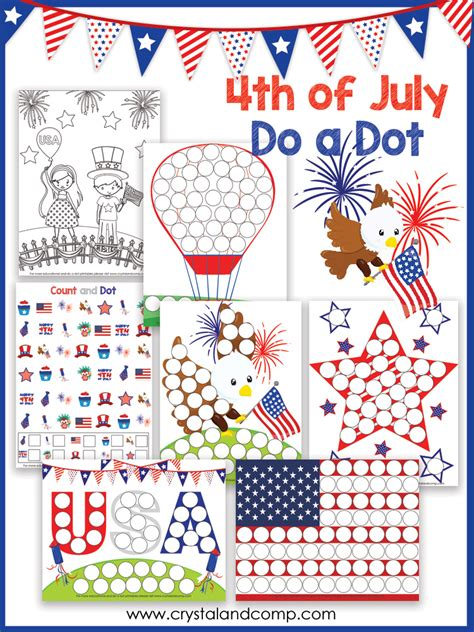 4th of july preschool do a dot printable 752 | 4th of july do a dots printables